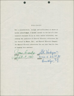 GIL HODGES - DOCUMENT SIGNED 09/08/1951 CO-SIGNED BY: JOAN CROSBY
