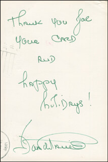 JOAN FONTAINE - CHRISTMAS / HOLIDAY CARD SIGNED CIRCA 1986