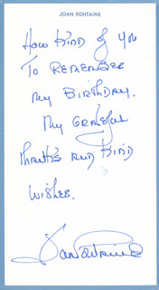 JOAN FONTAINE - AUTOGRAPH LETTER SIGNED CIRCA 1984