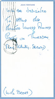 JOAN FONTAINE - AUTOGRAPH NOTE UNSIGNED CIRCA 1980
