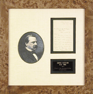 PRESIDENT GROVER CLEVELAND - AUTOGRAPH LETTER SIGNED 11/27/1891