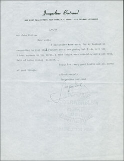 JACQUELINE BERTRAND - TYPED LETTER SIGNED 01/04/1984