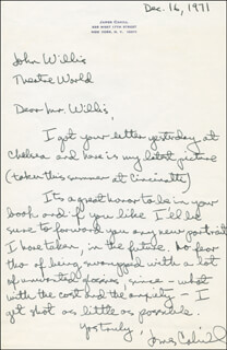 JAMES CAHILL - AUTOGRAPH LETTER SIGNED 12/16/1971