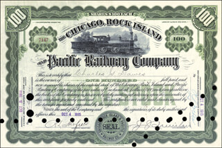 Autographs: VICE PRESIDENT CHARLES G. DAWES - STOCK CERTIFICATE SIGNED 10/04/1915 CO-SIGNED BY: HENRY MAY DAWES