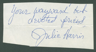 JULIE HARRIS - AUTOGRAPH SENTIMENT SIGNED