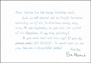 EVA MARIE SAINT - TYPED LETTER SIGNED 07/06/1984