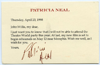 PATRICIA NEAL - TYPED LETTER SIGNED 04/23/1998