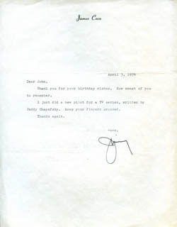 JAMES JIMMY COCO - TYPED LETTER SIGNED 04/03/1974