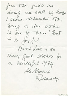 ROSEMARY HARRIS - AUTOGRAPH LETTER SIGNED 01/15/1974