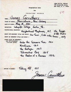 JAMES CARRUTHERS - AUTOGRAPH RESUME SIGNED