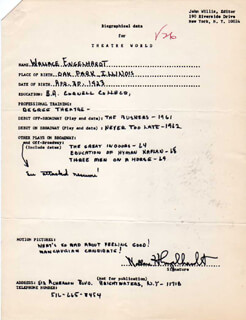 WALLACE ENGELHARDT - AUTOGRAPH RESUME SIGNED