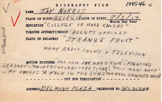JAY NORRIS - AUTOGRAPH DOCUMENT SIGNED IN TEXT