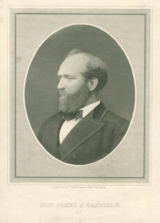 PRESIDENT JAMES A. GARFIELD - ENGRAVING UNSIGNED
