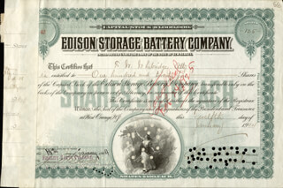 Autographs: THOMAS A. EDISON - STOCK CERTIFICATE SIGNED 01/12/1904 CO-SIGNED BY: HOWARD H. ECKERT, J. R. RUDOLPH