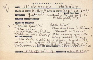 HILDEGARDE HALLIDAY - AUTOGRAPH DOCUMENT SIGNED IN TEXT