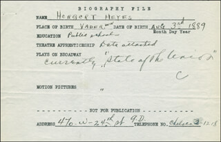 HERBERT H. HEYES - AUTOGRAPH DOCUMENT SIGNED IN TEXT