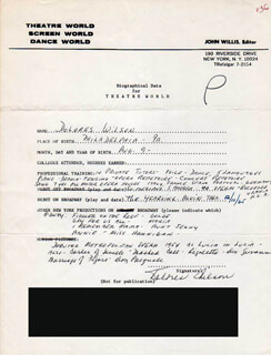 DOLORES WILSON - AUTOGRAPH RESUME SIGNED