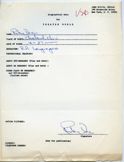 Autographs: RUBY DEE - AUTOGRAPH RESUME SIGNED