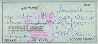 JACK PALANCE - AUTOGRAPHED SIGNED CHECK 12/16/1988
