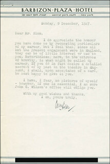 OWEN HOLDER - TYPED LETTER SIGNED 12/09/1947