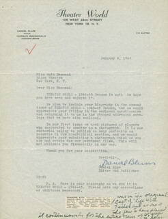 DANIEL BLUM - TYPED LETTER SIGNED 01/08/1946