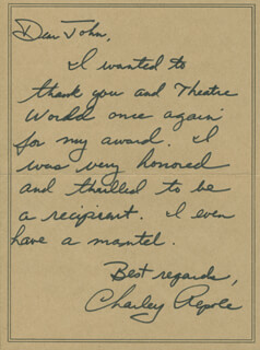 CHARLES REPOLE - AUTOGRAPH LETTER SIGNED CIRCA 1975