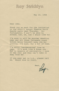 RAY STRICKLYN - TYPED LETTER SIGNED 05/22/1984