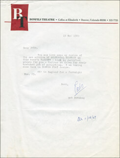 ROBERT BOB DOWNING - TYPED LETTER SIGNED 11/15/1969