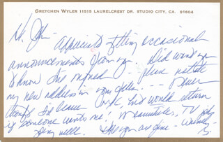 GRETCHEN WYLER - AUTOGRAPH LETTER SIGNED