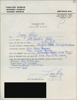 LARRY RILEY - AUTOGRAPH RESUME SIGNED