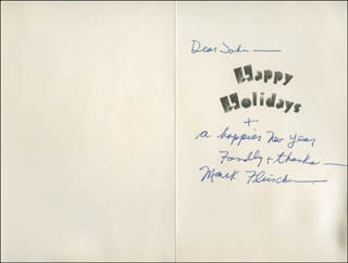 MARK FLEISCHER - CHRISTMAS / HOLIDAY CARD SIGNED