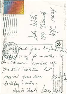 IRENE WORTH - AUTOGRAPH LETTER SIGNED 07/26/1983