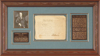 Autographs: ROBERT MORRIS - STOCK CERTIFICATE SIGNED 04/04/1795 CO-SIGNED BY: JAMES MARSHALL