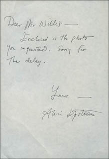 ALVIN EPSTEIN - AUTOGRAPH LETTER SIGNED