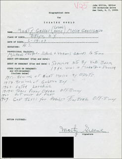 MARTY GREENE - AUTOGRAPH RESUME SIGNED