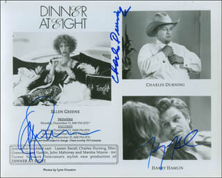 DINNER AT EIGHT TV MOVIE CAST - AUTOGRAPHED SIGNED PHOTOGRAPH CO-SIGNED BY: HARRY HAMLIN, CHARLES DURNING, ELLEN GREENE