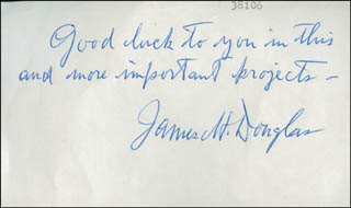 JAMES H. DOUGLAS - AUTOGRAPH SENTIMENT SIGNED