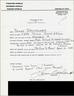 YVONNE BRYCELAND - AUTOGRAPH RESUME SIGNED