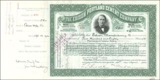 Autographs: THOMAS A. EDISON - STOCK CERTIFICATE ENDORSED 10/02/1906 CO-SIGNED BY: THERON I. CRANE, WALTER S. MALLORY