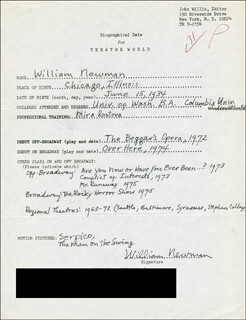 WILLIAM NEWMAN - AUTOGRAPH RESUME SIGNED