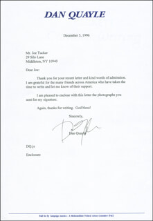 VICE PRESIDENT DAN (JAMES DANFORTH) QUAYLE - TYPED LETTER SIGNED 12/05/1996