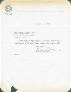 RICHARD BENJAMIN - TYPED LETTER SIGNED 12/11/1980