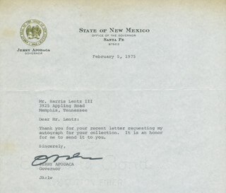 JERRY APODACA - TYPED LETTER SIGNED 02/05/1975
