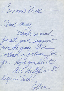 COLLEEN ZENK - AUTOGRAPH LETTER DOUBLE SIGNED 1983