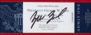 PRESIDENT GEORGE W. BUSH - TICKET SIGNED