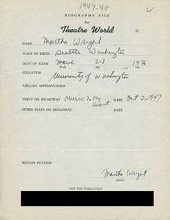 MARTHA WRIGHT - AUTOGRAPH RESUME SIGNED