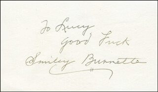 SMILEY (LESTER) BURNETTE - AUTOGRAPH NOTE SIGNED  - HFSID 301473