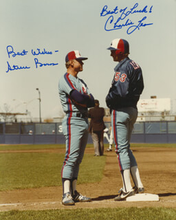 THE MONTREAL EXPOS - AUTOGRAPHED SIGNED PHOTOGRAPH CO-SIGNED BY: STEVE BOROS, CHARLIE LEA