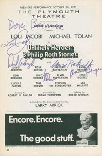 UNLIKELY HEROES PLAY CAST - SHOW BILL SIGNED CIRCA 1971 CO-SIGNED BY: LOU JACOBI, DAVID ACKROYD, DORI BRENNER, GEORGE BARTENIEFF, ANNA BERGER, JON KORKES