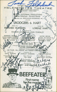 Autographs: RODGERS & HART PLAY CAST - SHOW BILL SIGNED CO-SIGNED BY: TOVAH FELDSHUH, LAURENCE GUITTARD, MARY SUE FINNERTY, JIMMY BRENNAN, BARBARA ANDRES, WAYNE BRYAN, JAMIE DONNELLY, JIM LITTEN